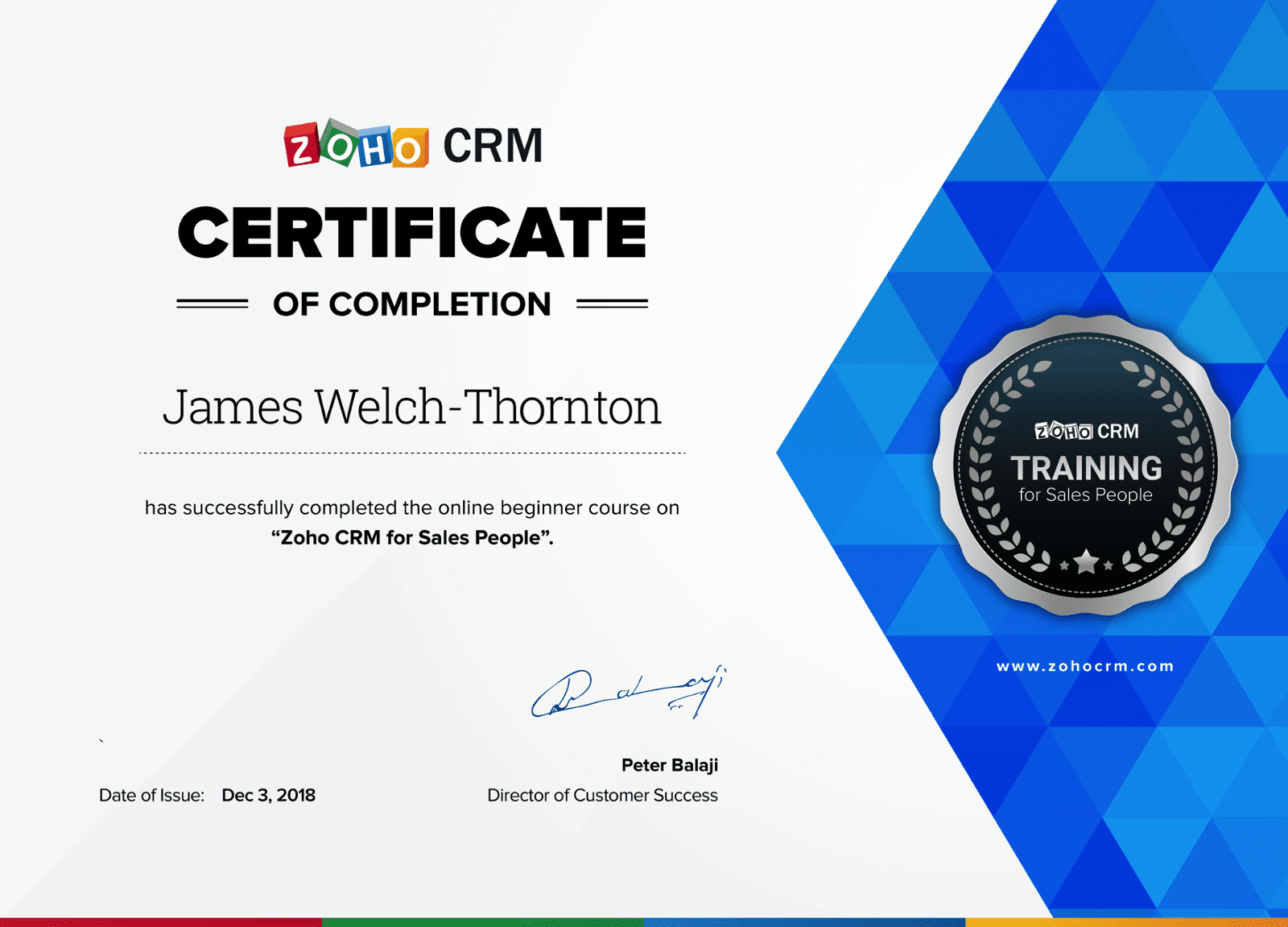 Zoho CRM for Sales People Certificate