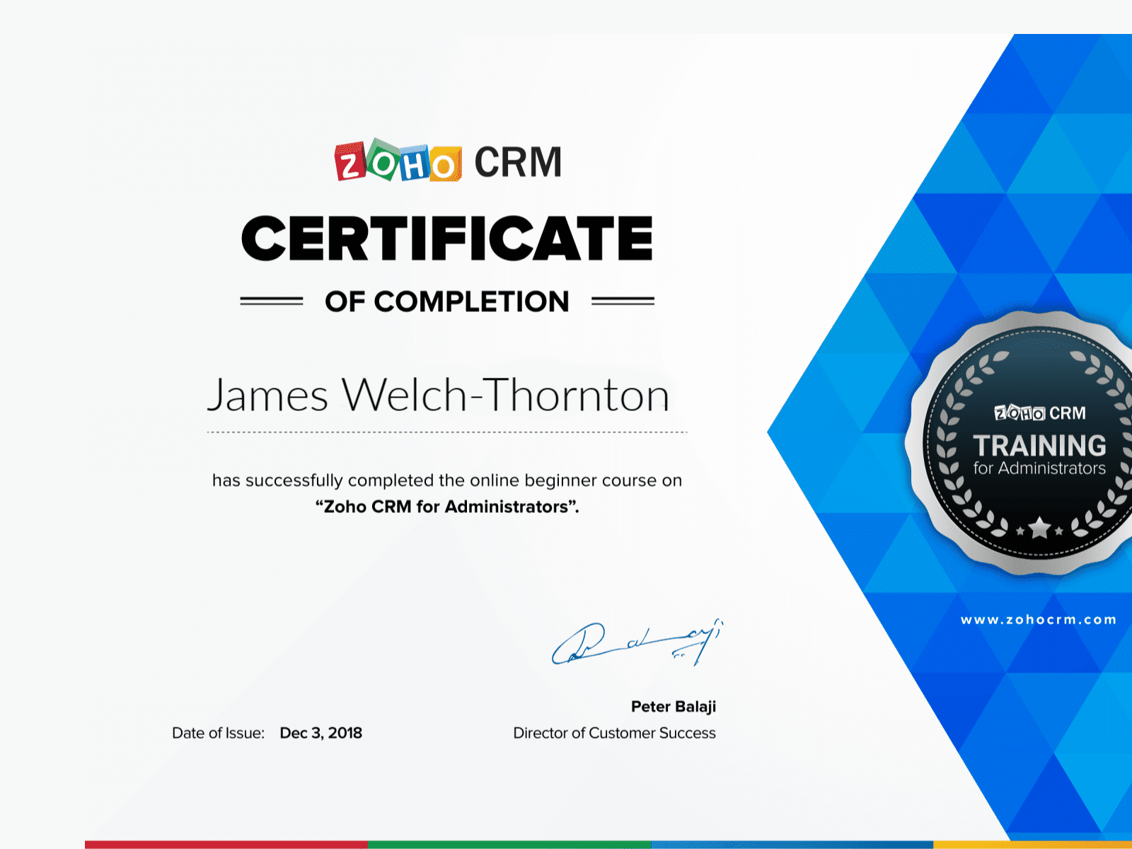 Zoho CRM for Administrators Certificate