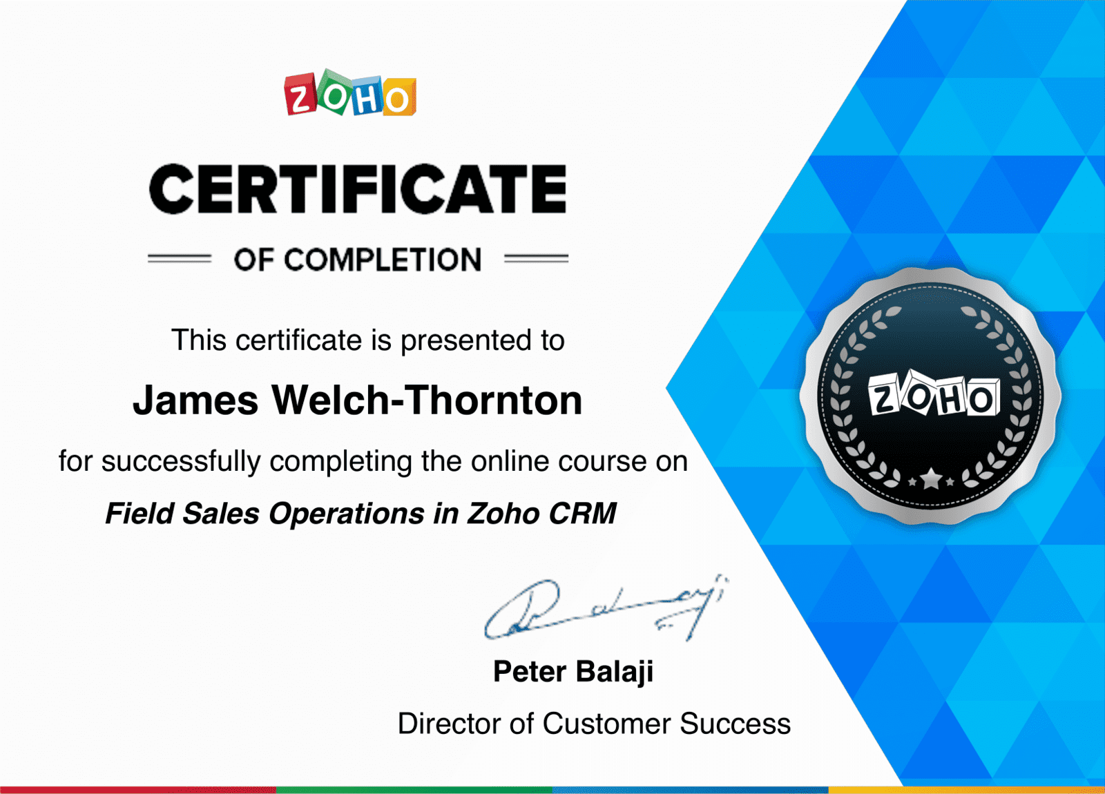 Field Sales Operations in Zoho CRM Certificate