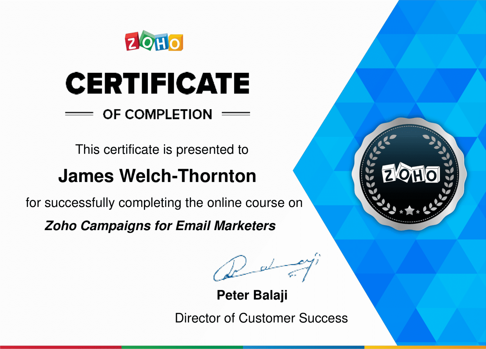Zoho Campaigns for Email Marketers Certificate