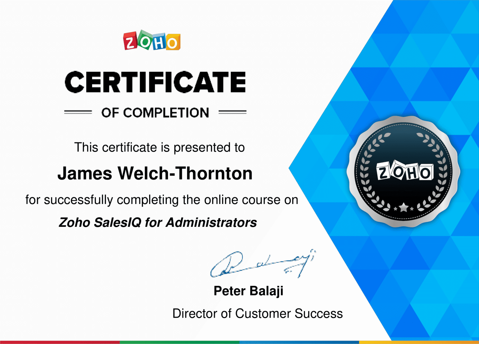 Zoho SalesIQ for Administrators Certificate